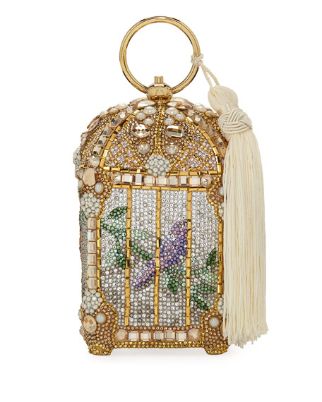 Judith Leiber Couture Gilded Bird Cage Framed Clutch