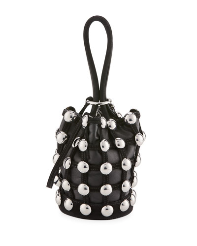 Roxy Mini Cage Bucket Bag, Black