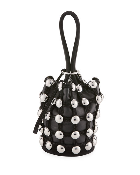 Roxy Mini Cage Bucket Bag, Black