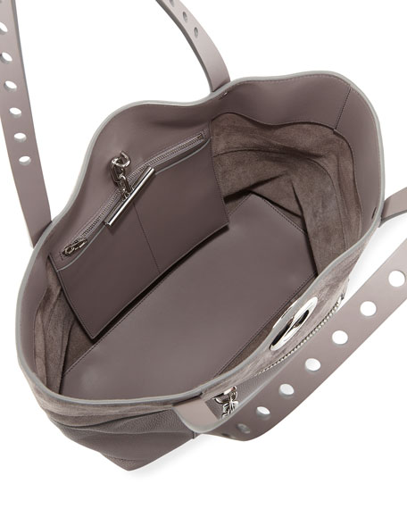 Riot Matte Mixed Leather Tote Bag, Gray