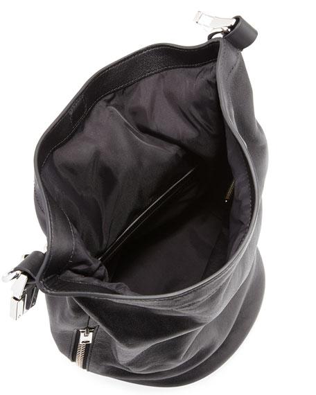 Roxy Mini Leather Bucket Bag, Black