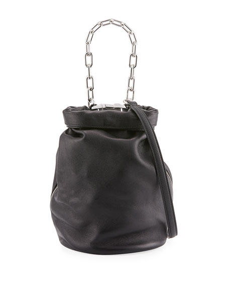Roxy Small Leather Bucket Bag, Black