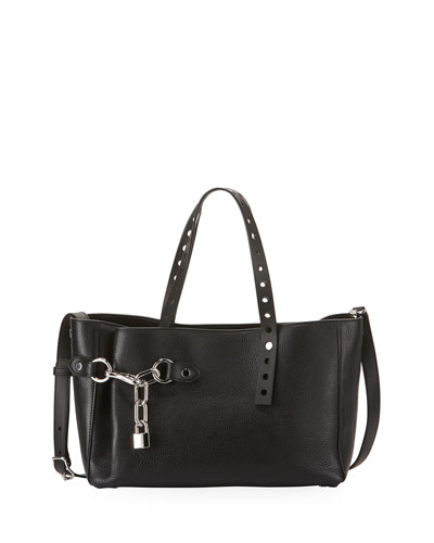 Lookbook Grained Leather Satchel Bag, Black