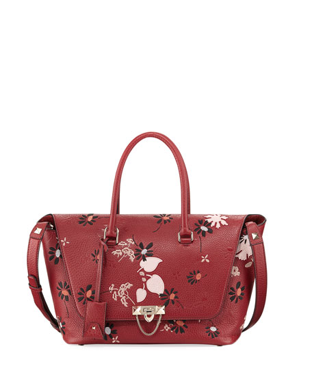 Valentino Garavani Demilune Medium Floral Satchel Bag, Red