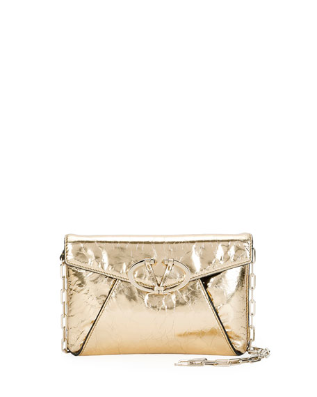 V Rivet Metallic Leather Clutch Bag, Gold