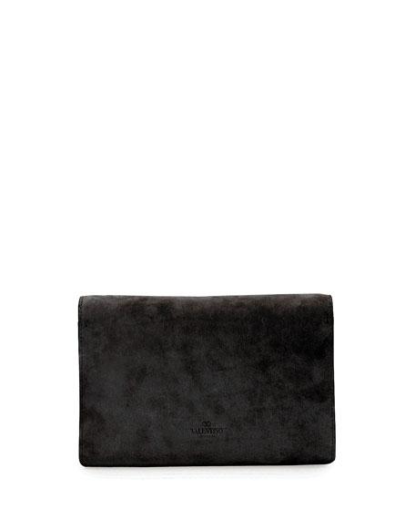 V Rivet Suede Clutch Bag, Black
