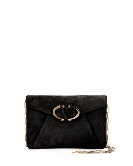 V Rivet Suede Clutch Bag Black
