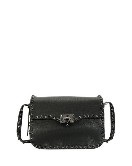 Valentino Garavani Rockstud Rolling Noir Shoulder Bag, Black