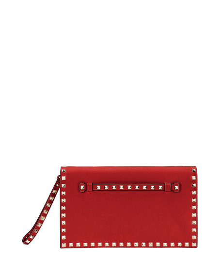 Valentino Garavani Rockstud Wristlet Clutch Bag, Red