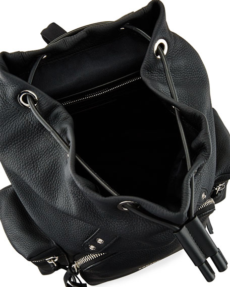 Rucksack Medium Leather Chain Backpack, Black