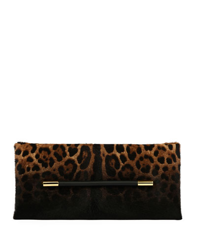 Ava Leopard-Print Calf Hair Clutch Bag, Black Pattern