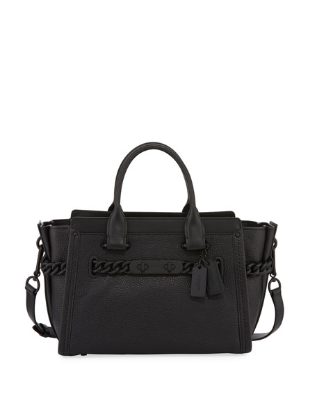 Coach Swagger 27 Leather Satchel Bag, Black