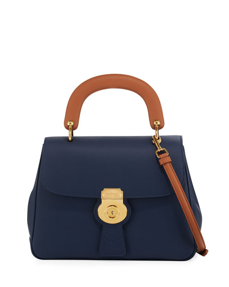 Burberry Trench Large Saffiano Top Handle Bag, Blue