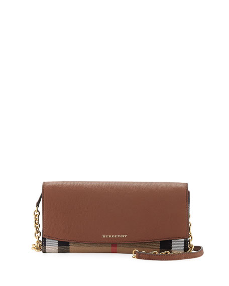 Burberry Henley Check & Leather Wallet-on-Chain, Tan
