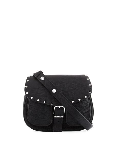 Rebecca Minkoff Biker Pebbled Leather Saddle Bag, Black