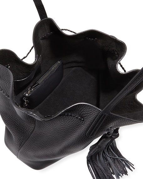 Pebbled Drawstring Tassel Tote Bag