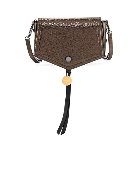 Jimmy Choo Arrow Metallic Leather Crossbody Bag, Brown