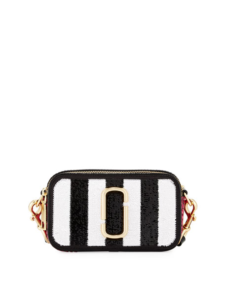 Sequin Stripes Snapshot Crossbody Bag, Black/Multi