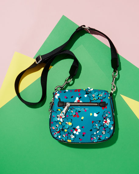 Nomad 3D Flowers Small Messenger Bag, Turquoise/Multi