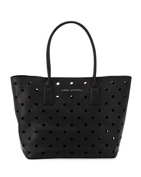 Perforated Leather Tote Bag, Black