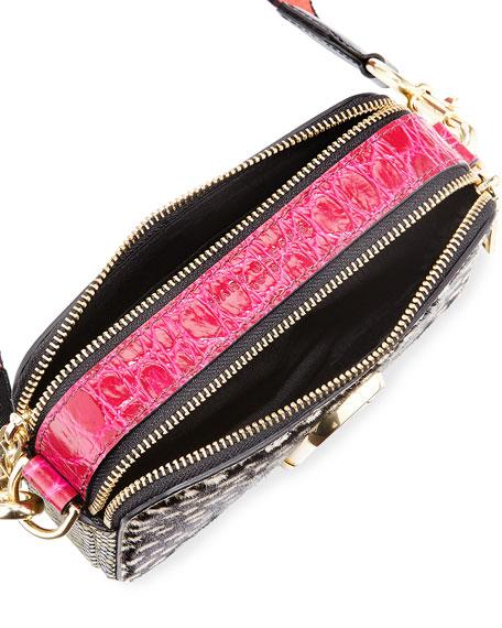 Wavy Spot Snapshot Crossbody Bag, Black/Multi