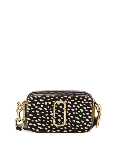 Wavy Spot Snapshot Crossbody Bag, Black/Multi
