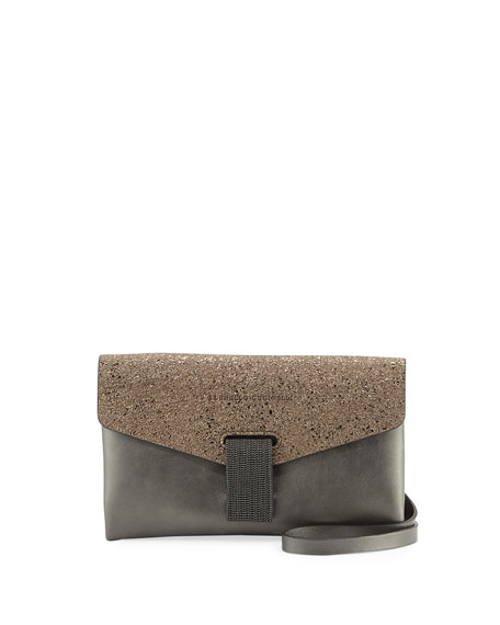 Brunello Cucinelli Flap Tab Leather Clutch Bag