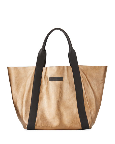 Reversible Metallic Tote Bag, Gold