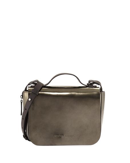 Brunello Cucinelli Small Metallic Leather Top-Handle Bag, Green