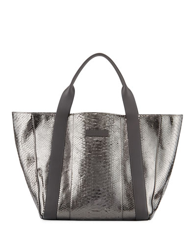 Large Metallic Python Tote Bag, Gray