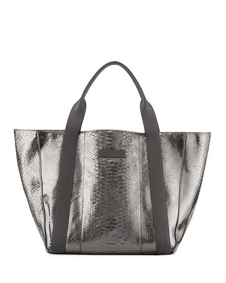 Brunello Cucinelli Large Metallic Python Tote Bag, Gray