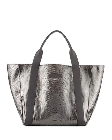 Brunello Cucinelli Large Metallic Python Tote Bag, Gray