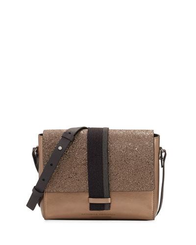 Metallic Small Shoulder Bag, Gold