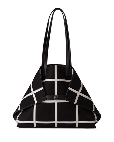 Akris Ai Medium Plaid Reversible Shoulder Bag