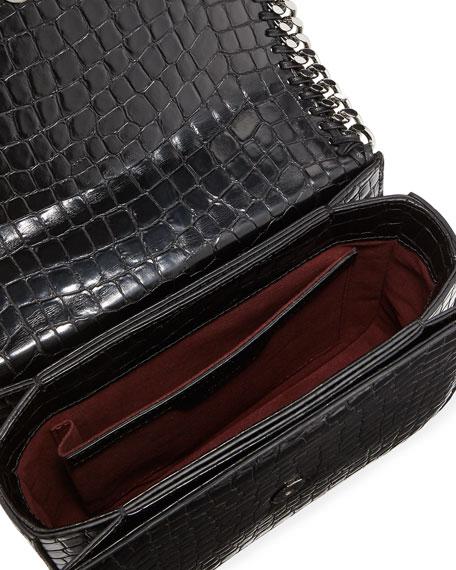 Falabella Large Crocodile-Embossed Box Shoulder Bag