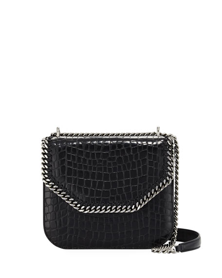 Stella McCartney Falabella Large Crocodile-Embossed Box Shoulder
