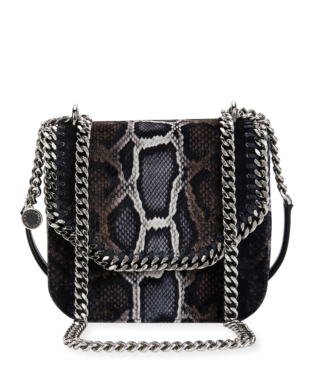 Stella McCartney Falabella Snake-Print Velvet Shoulder Bag a7310d3e54016
