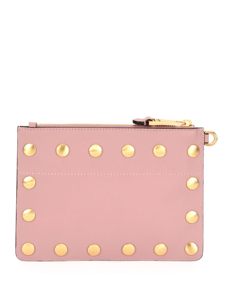 Studded Faux-Leather Wristlet Clutch Bag, Pink
