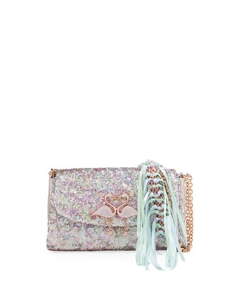 Sophia Webster Bisou Flamingo Sequin Shoulder Bag