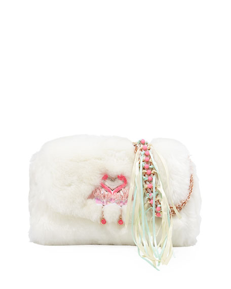 Sophia Webster Bisou Flamingo Faux-Fur Shoulder Bag
