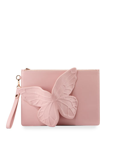 Flossy Leather Butterfly Pochette