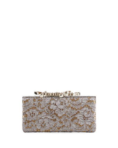 Jimmy Choo Celeste Love Lace Box Clutch Bag