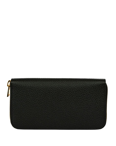 Grained Calfskin Zip Wallet, Black