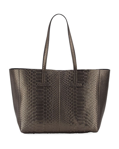 Large Metallic Python T Tote Bag, Dark Gray
