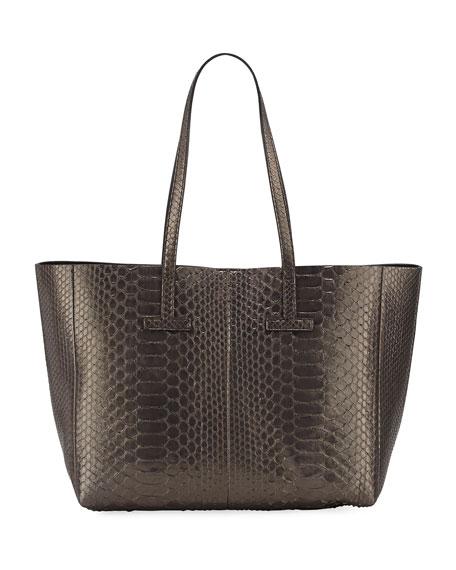 Small Metallic Python T Tote Bag, Dark Gray