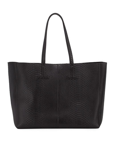 Large Python T Tote Bag, Black