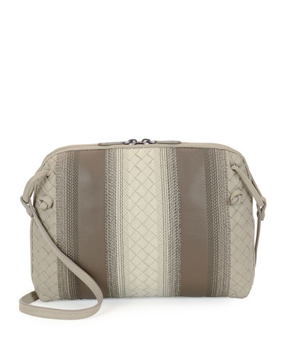Striped Leather Pillow Bag