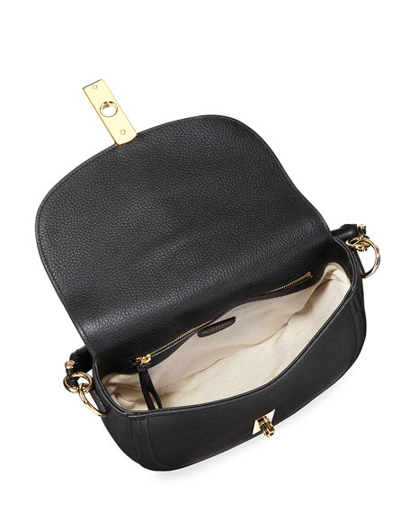 Ghianda Pebbled Stitched Top-Handle Saddle Bag