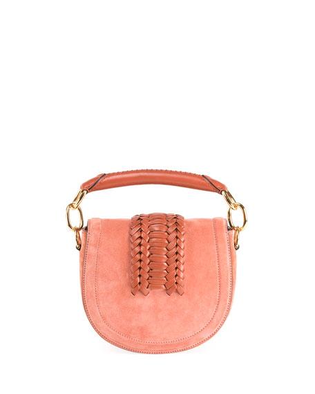 Mini Braided Top-Handle Saddle Bag, Pink