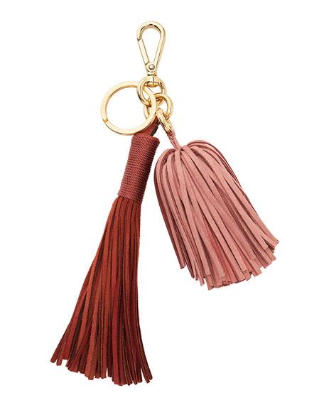 Ghianda Suede Tassel Bag Charm/Keychain, Rust